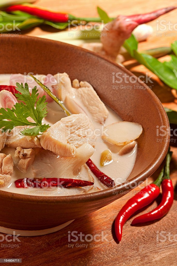 Thai chicken coconut soup. royalty-free stock photo