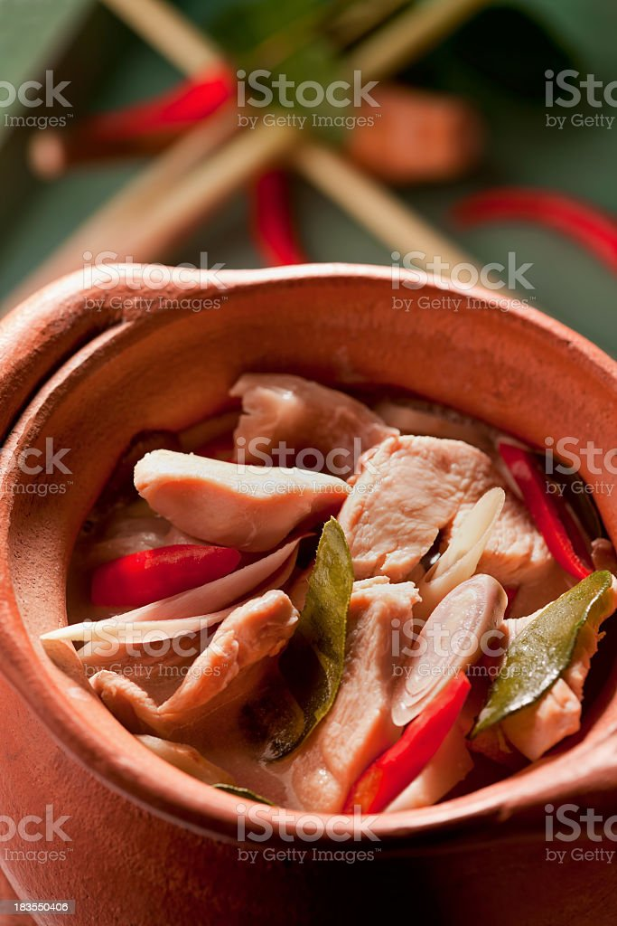 Thai chicken coconut soup. stock photo