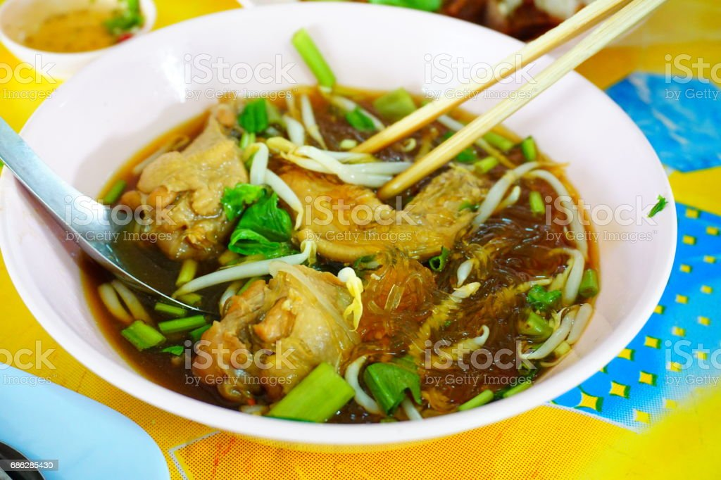 Thai Chicken Curry Noodle Soup stock photo