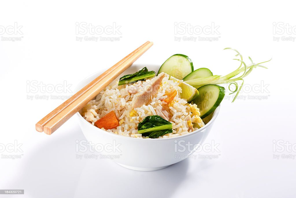 Thai chicken fried rice and chopsticks. royalty-free stock photo