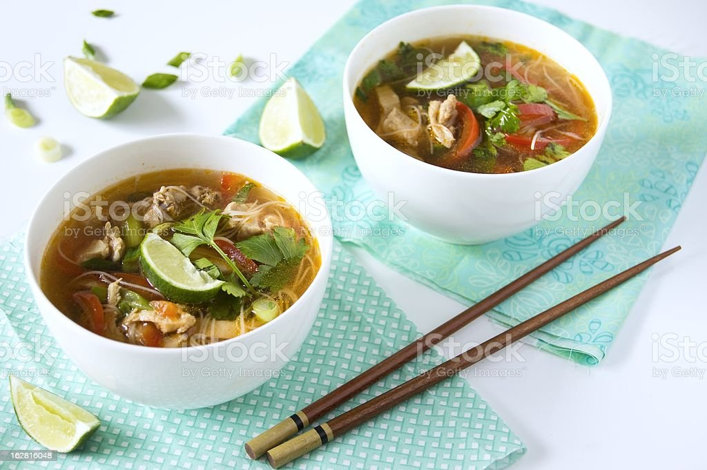 Thai chicken noodle soup royalty-free stock photo