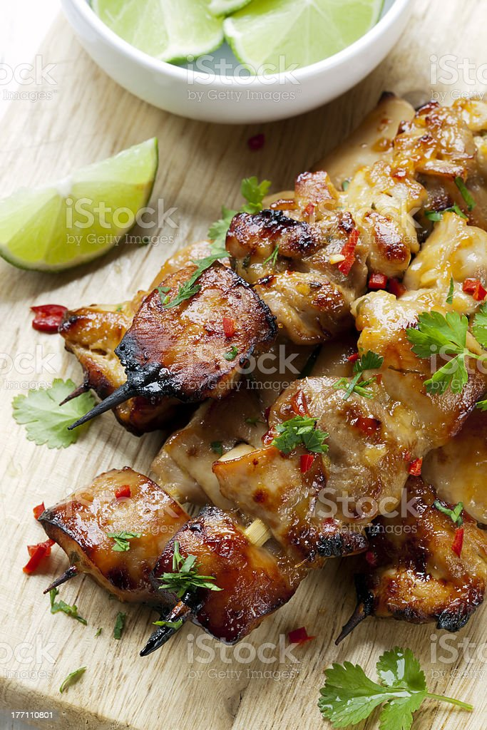 Thai Chicken Skewers stock photo