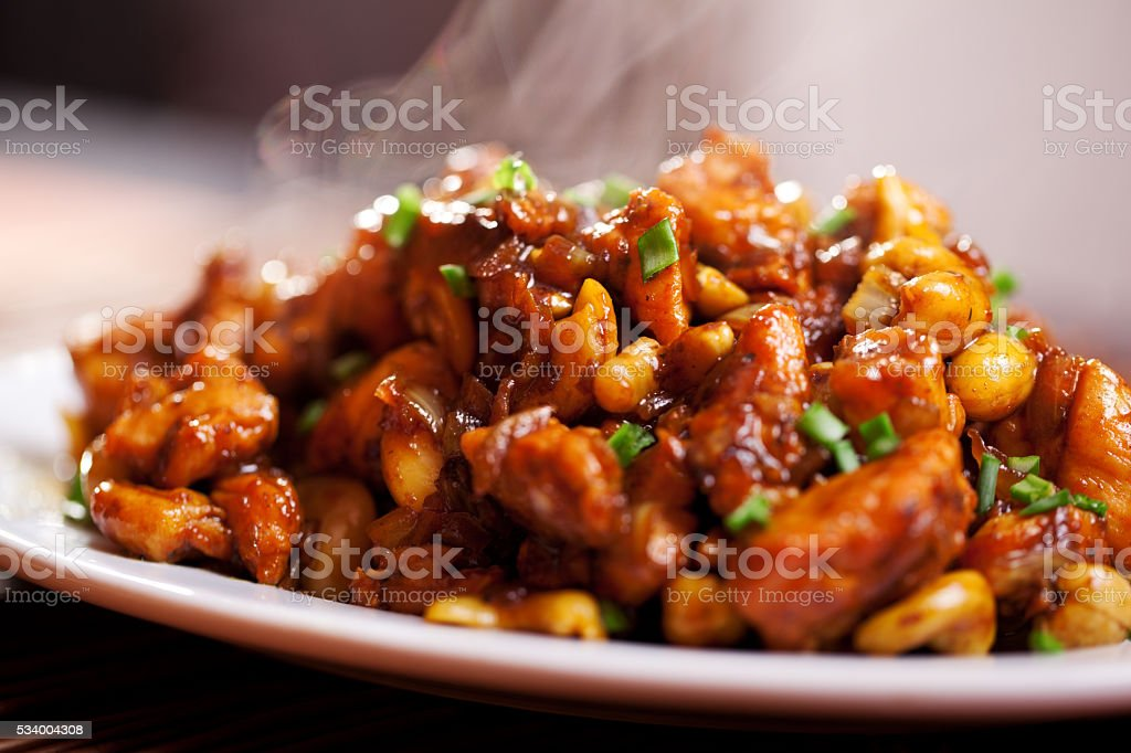 Thai chicken with cashew stock photo