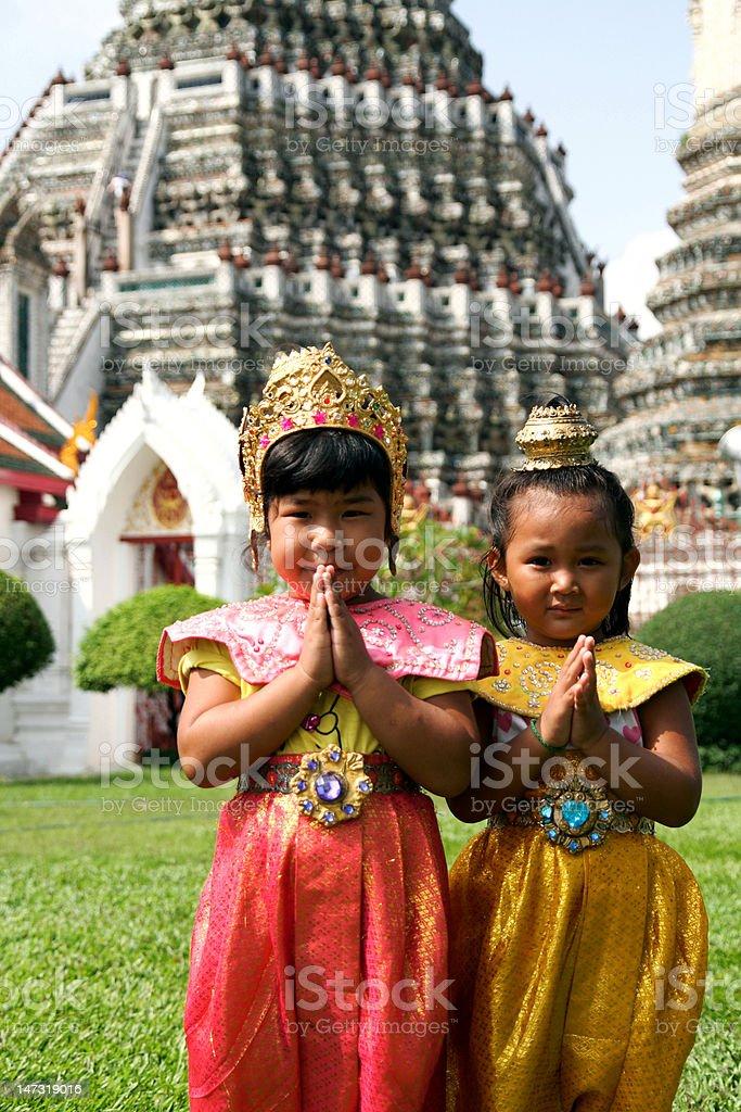 Thai children Sawasdee in traditional cloth royalty-free stock photo