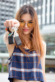 thai chinese adult beautiful girl Denim blue bag and key
