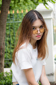 thai chinese adult glasses beautiful girl relax and smile