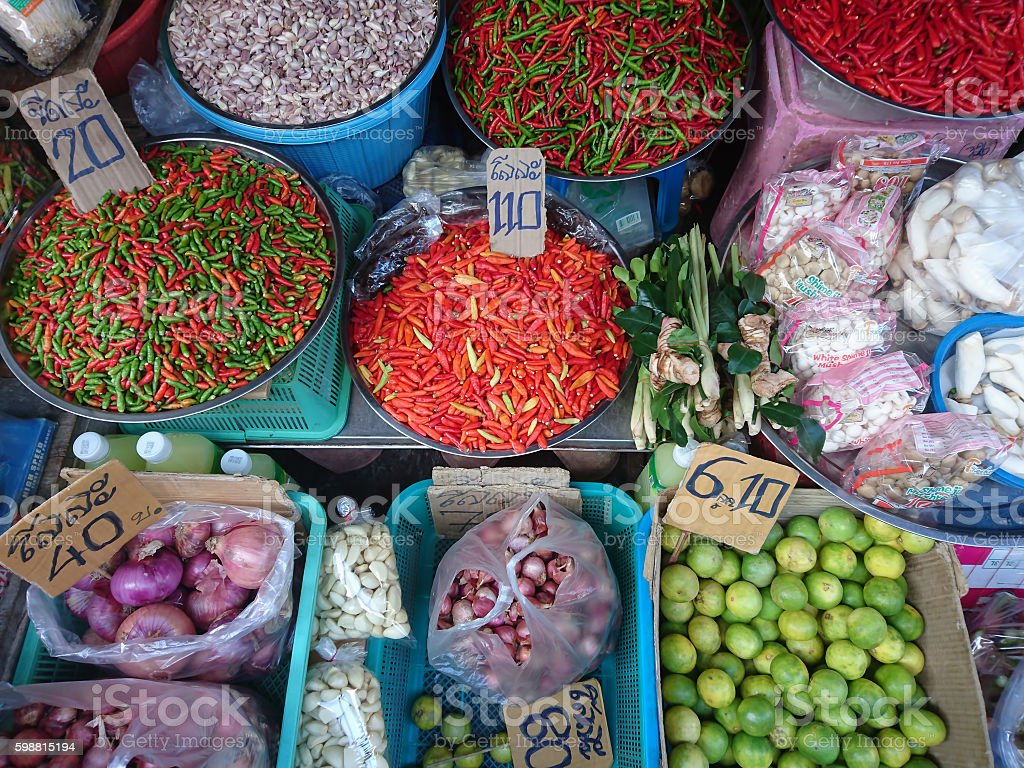 Thai Chlli and Tom Yam spices in a Thailand market. stock photo