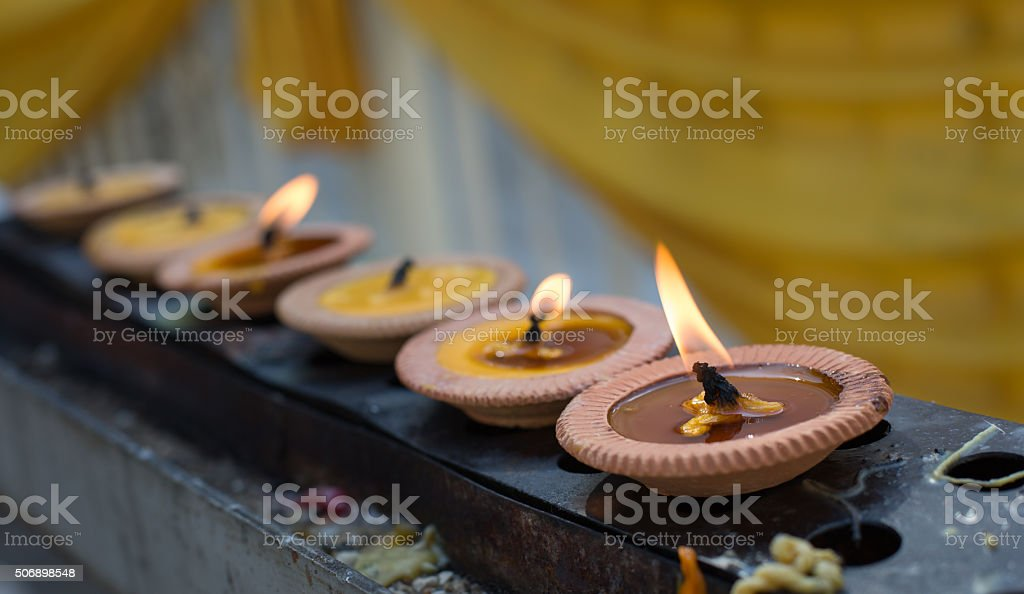 Thai clay candle stock photo