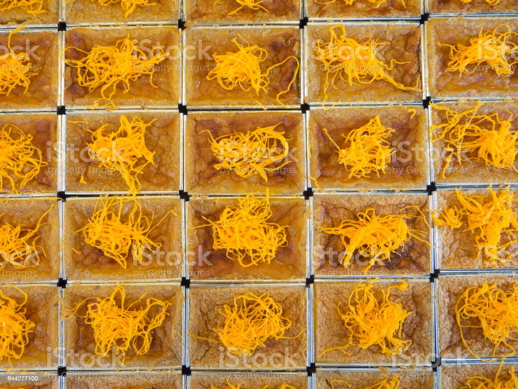 Thai coconut rice pudding yellow stock photo