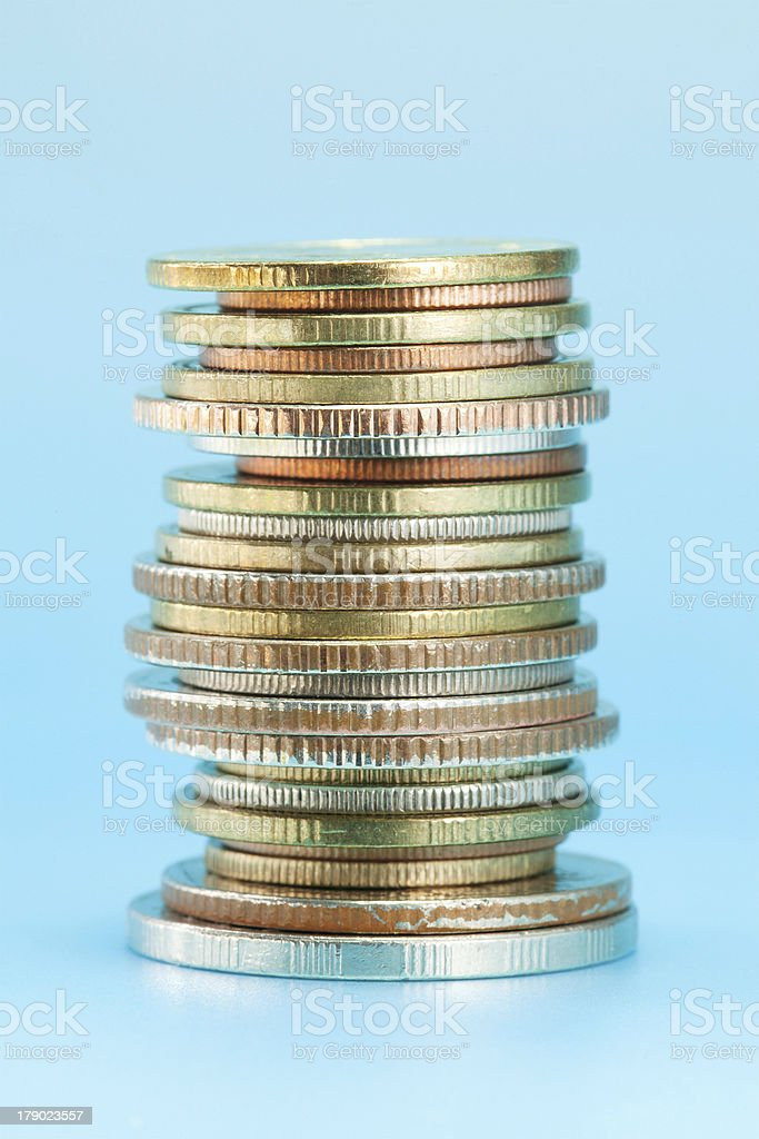 Thai coins arranged in stack stock photo