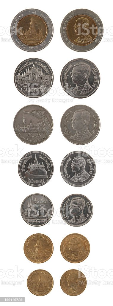 Thai Coins Isolated on White royalty-free stock photo