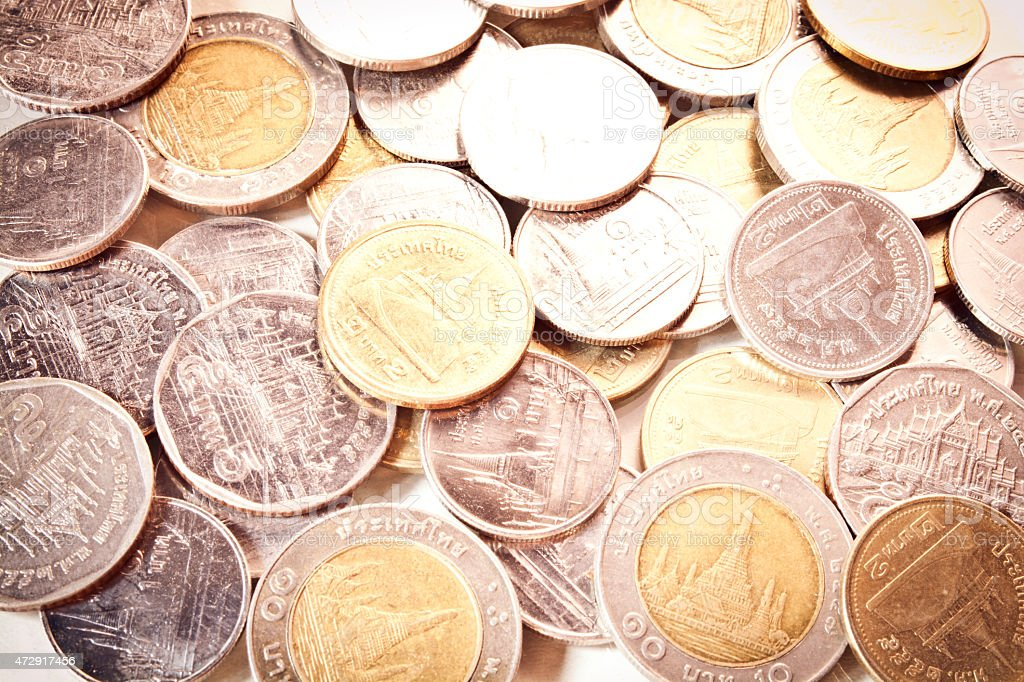 thai coins One Baht,Two Baht,Five Baht and Ten Baht. stock photo