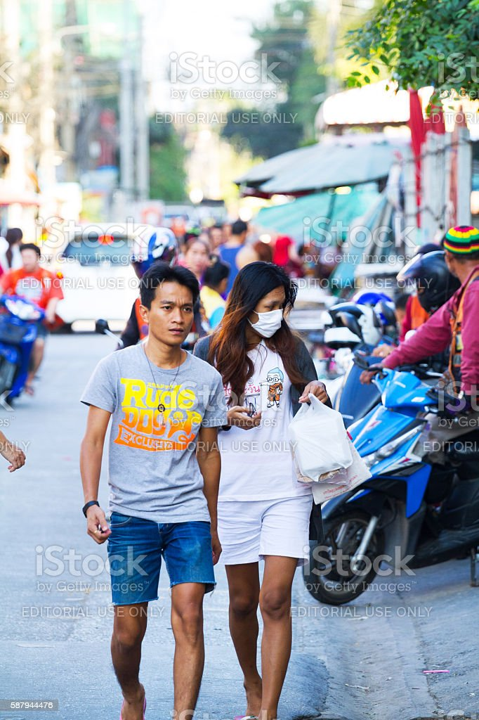 Thai couple in street stock photo