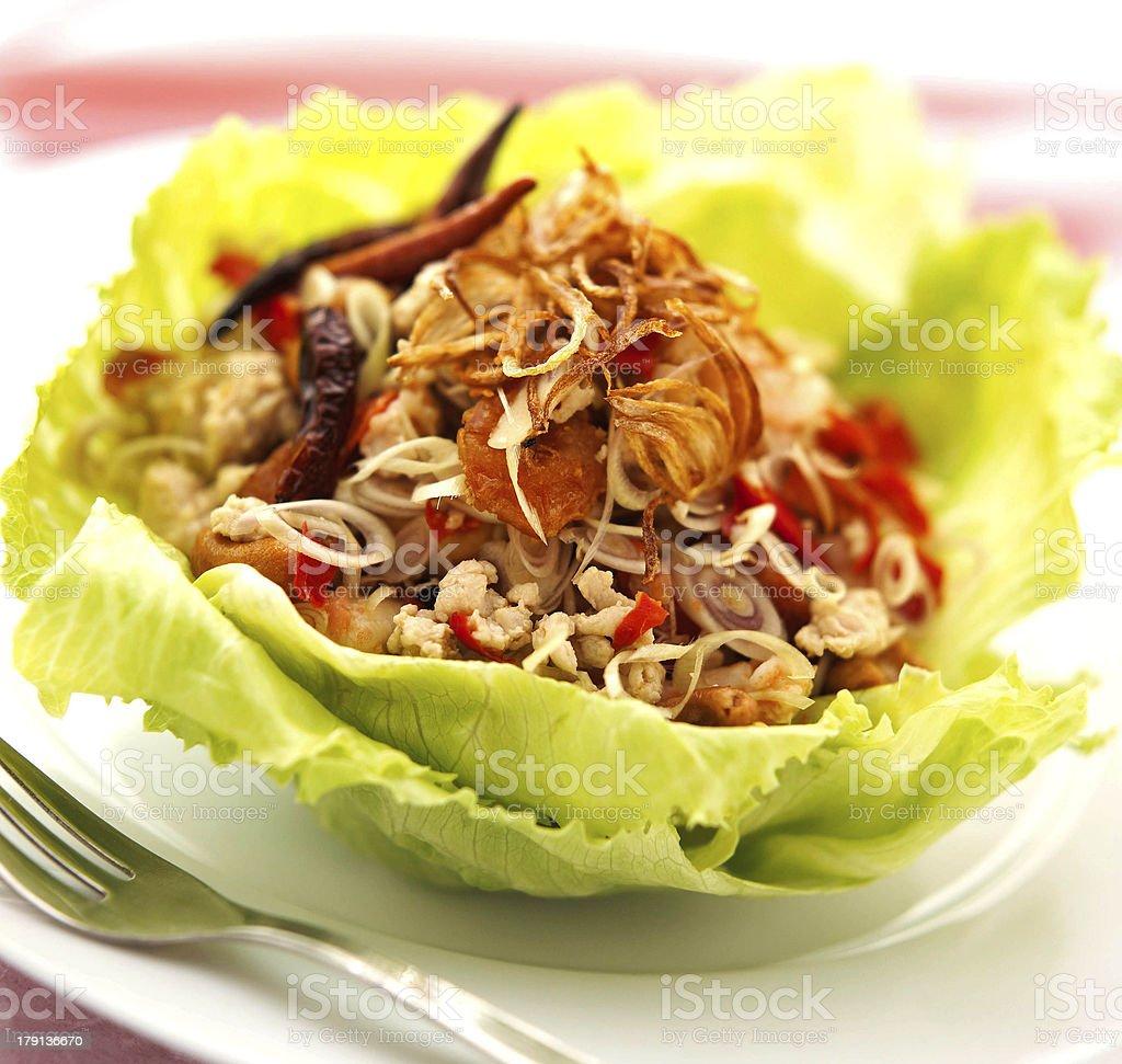 thai cuisine laab gai spicy minced chicken salad stock photo