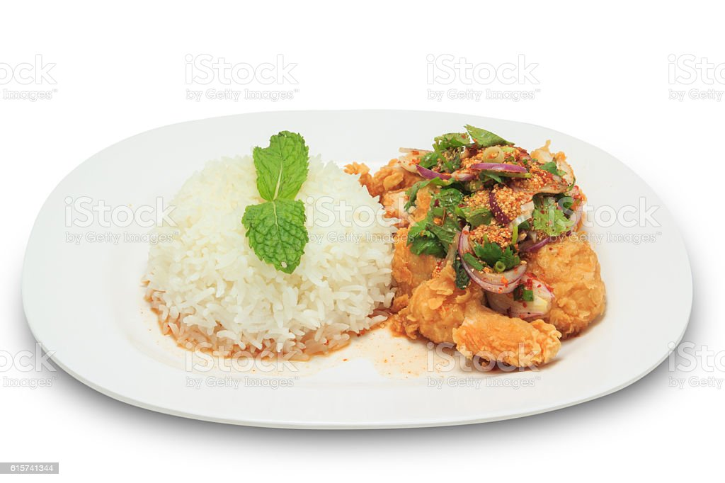 Thai cuisine mix spicy fried chicken with rice stock photo