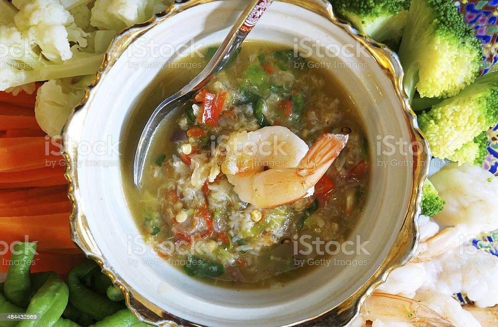 Thai Cuisine - Shrimp in chili sauce royalty-free stock photo