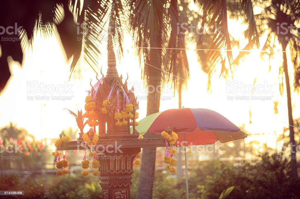 Thai cultural Shrine of the household god (Joss house) stock photo