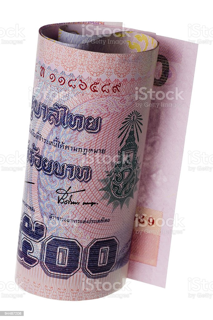 Thai currency rolled royalty-free stock photo