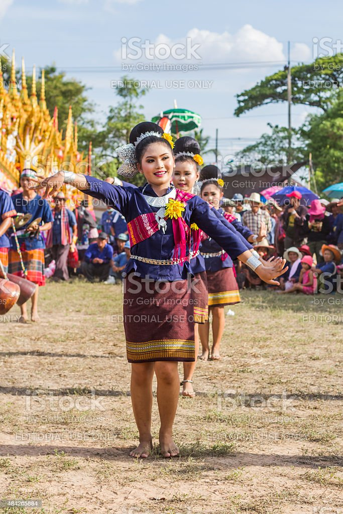 Thai dancing performance. stock photo