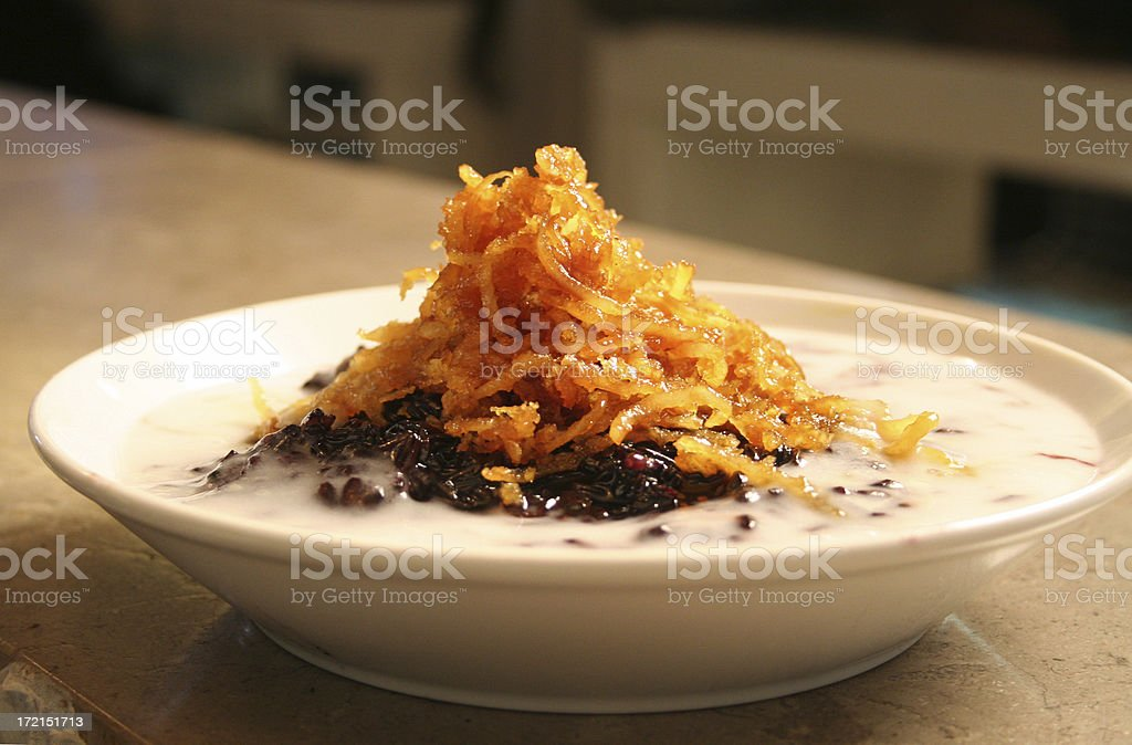 Thai Desert Black Sticky Rice stock photo