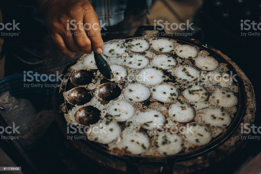 Thai dessert ,Coconut milk mix with powder fried dessert. stock photo