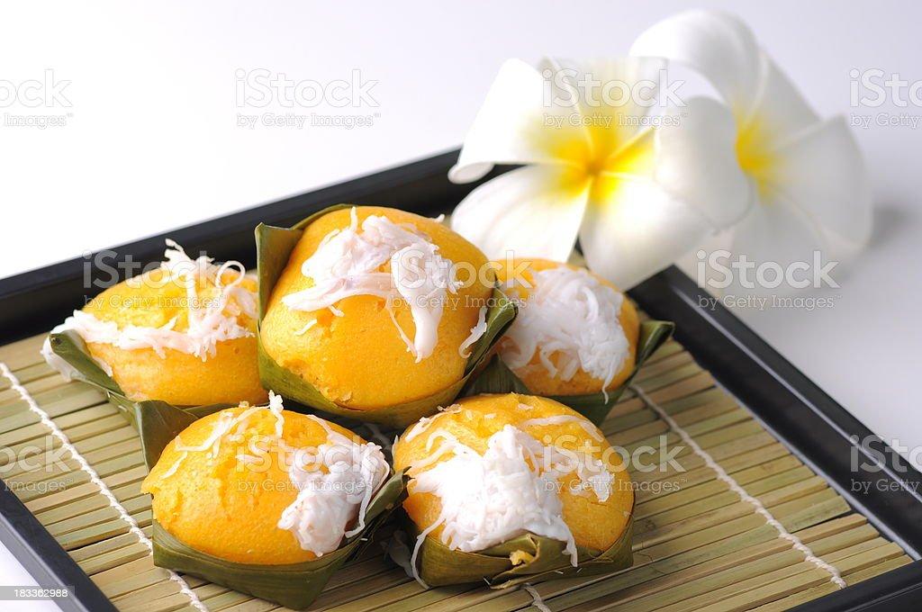 Thai dessert decorate with coconut slice stock photo
