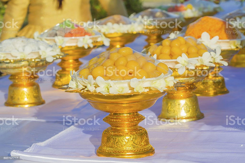 Thai dessert on a golden tray with pedestal. royalty-free stock photo