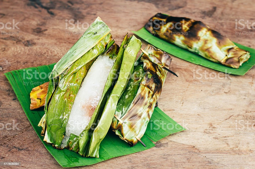 Thai dessert on wooden background stock photo