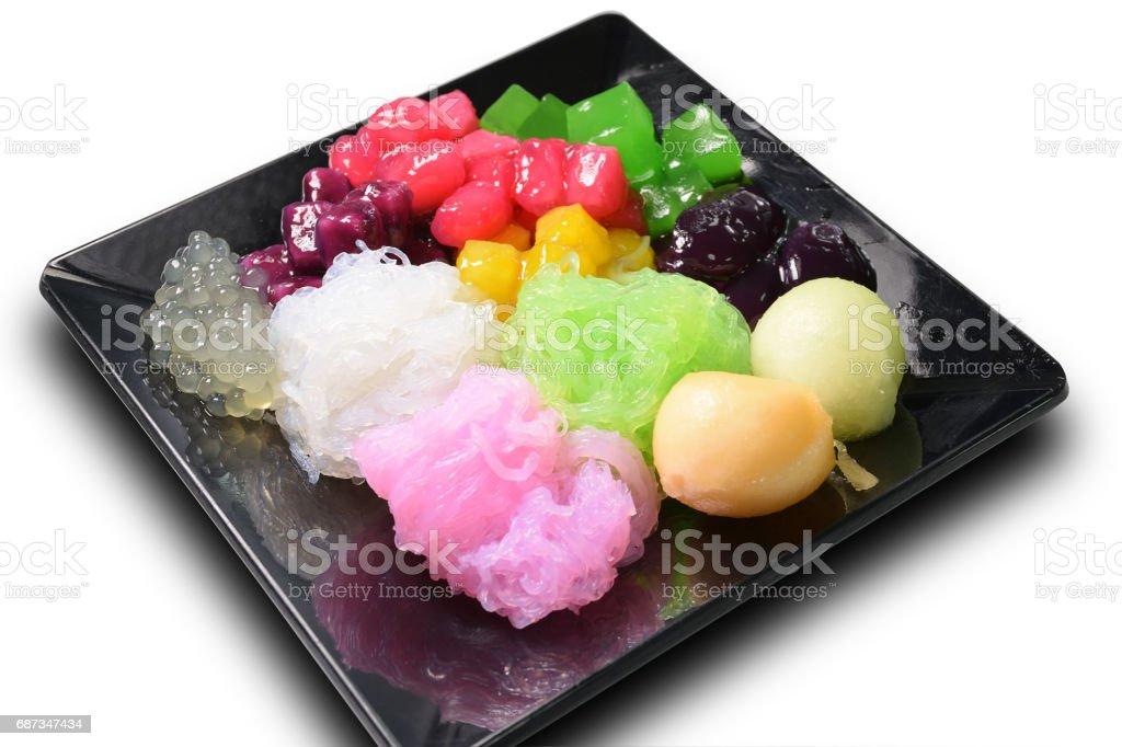 Thai dessert ruby salim truffle colorful mixed with coconut milk fresh stock photo