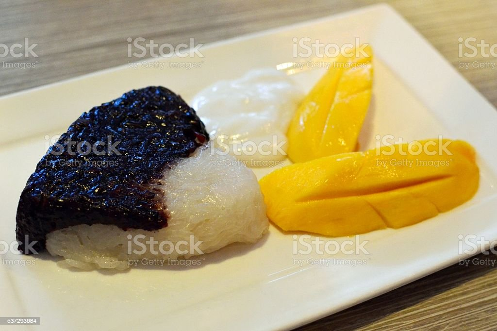 Thai dessert sticky rice with mango stock photo