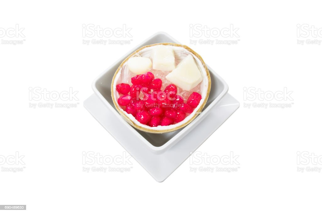 Thai Dessert Stuffed Truffle in Syrup and Coconut Milk served with Crushed Ice stock photo