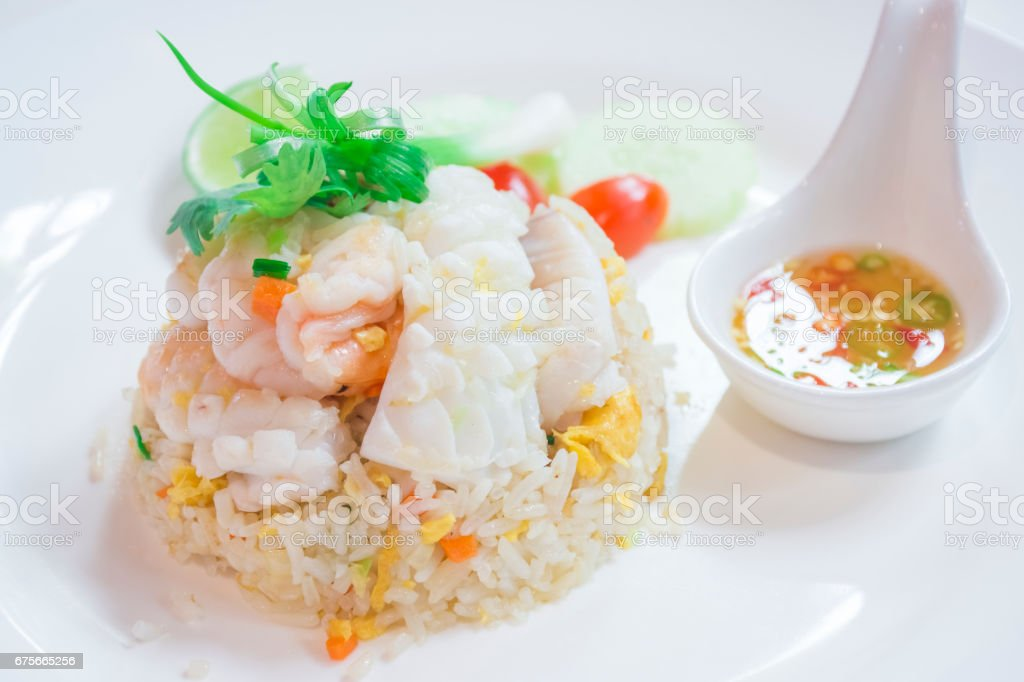 Thai Dishes called Kao Pad, Stir fried Rice Seafood, Chinese food, Japanese food stock photo