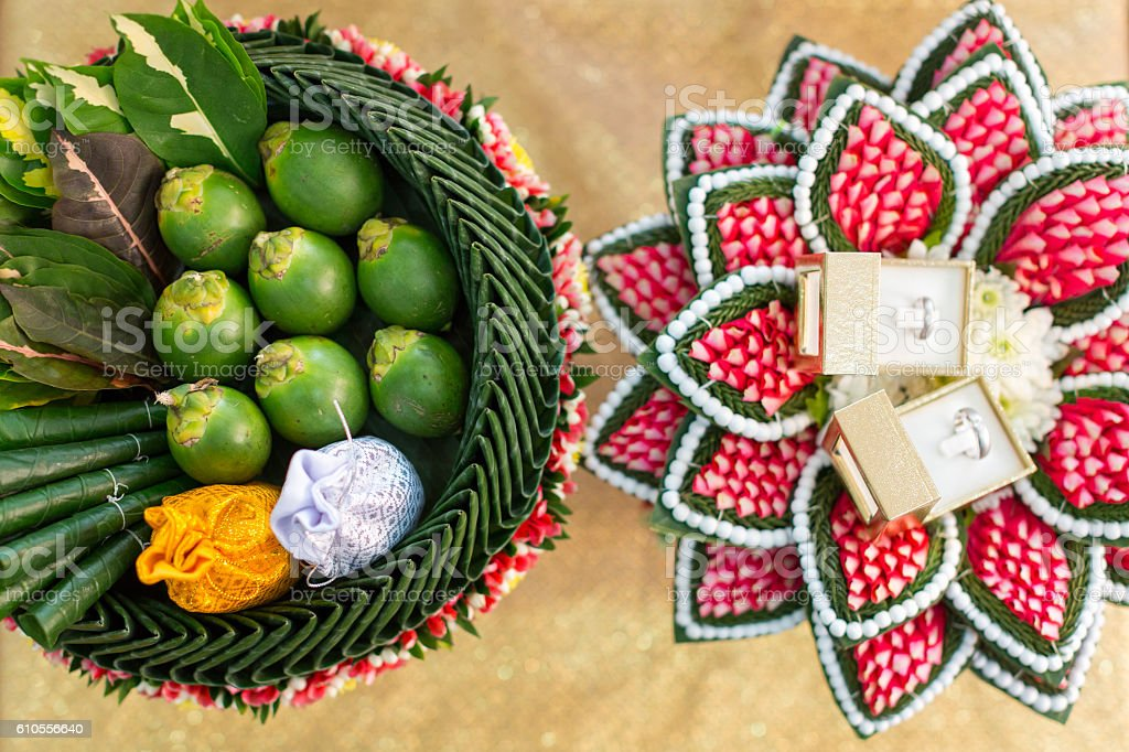 thai dowry tray decorated with flower garland (soft focus) stock photo