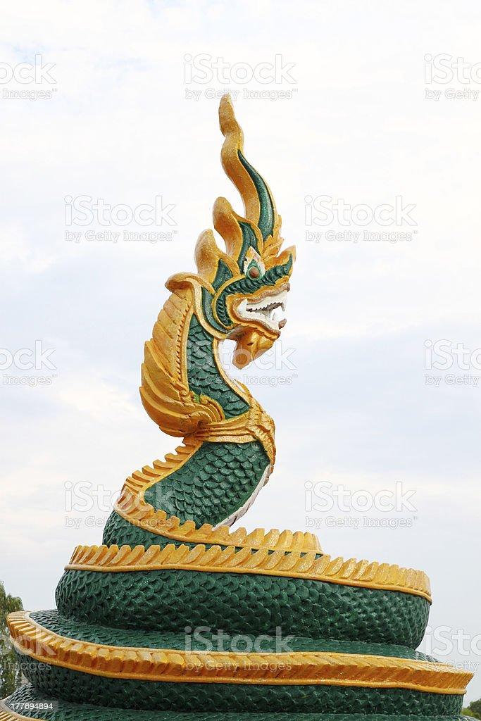 Thai dragon or king of Naga statue royalty-free stock photo