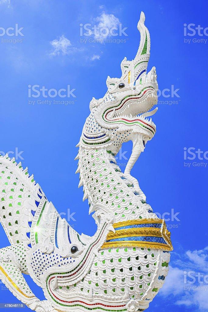 Thailändische dragon king-Size-Bett oder der Naga-statue Lizenzfreies stock-foto