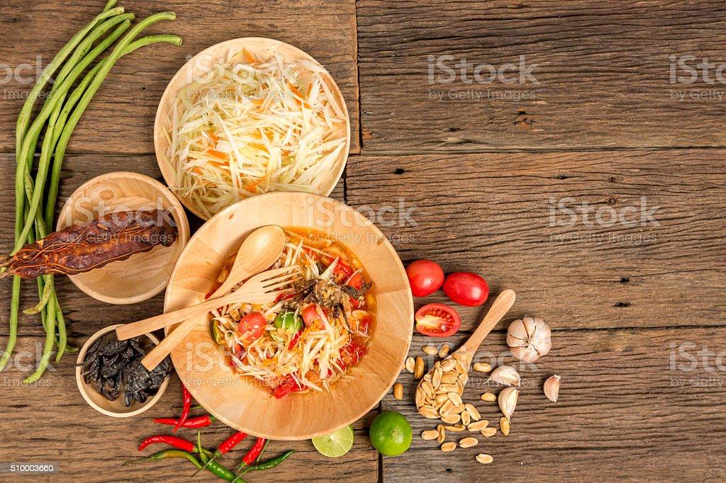 Thai famus food Papaya Salad with ingredients stock photo