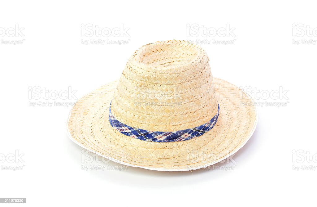 Thai farmer Old hat made of woven bamboo stock photo