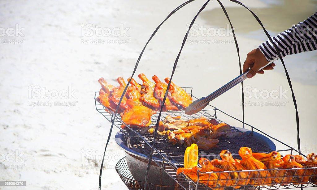Thai fastfood on the beach stock photo