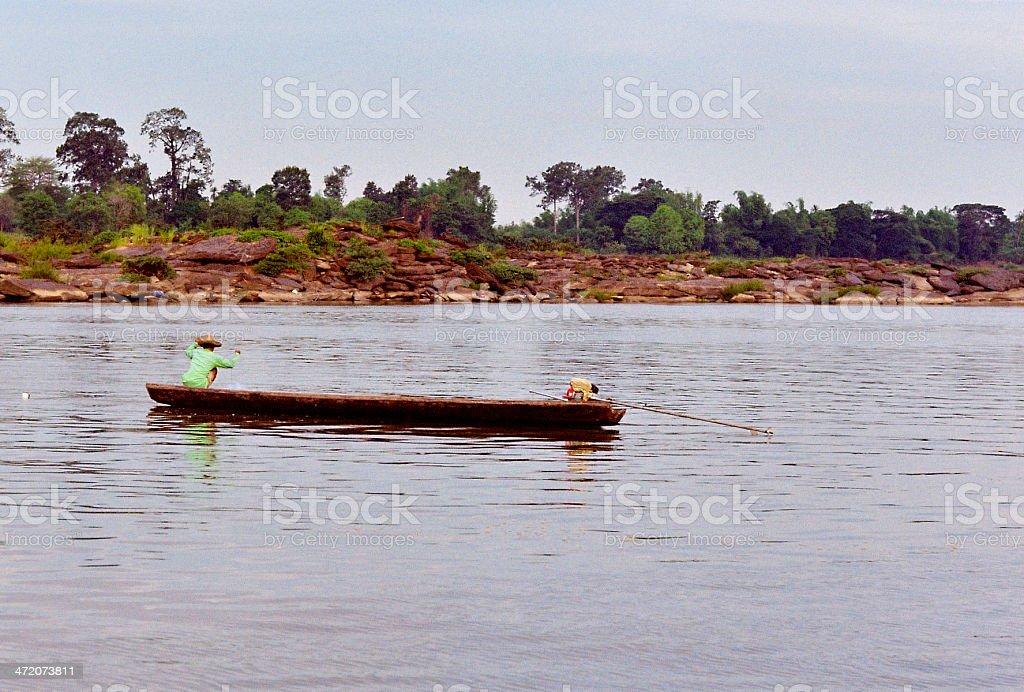 Thai Fisherman at Work stock photo