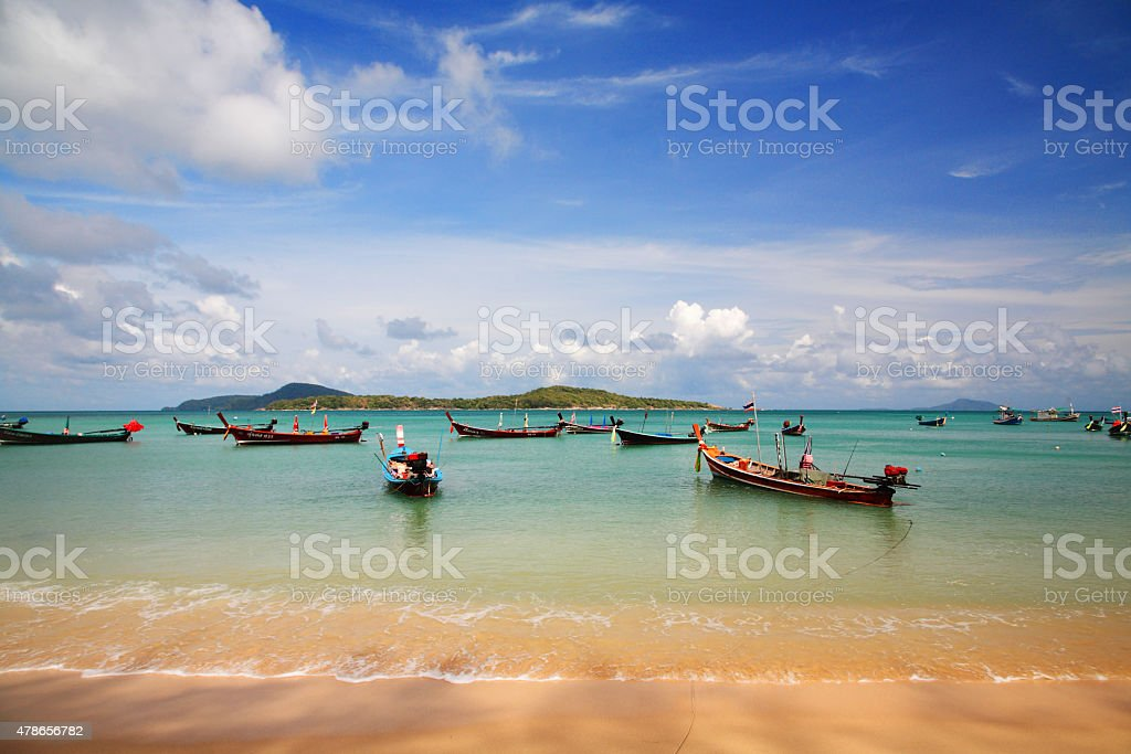 Thai fisherman boat  at rawai beach, Phuket stock photo