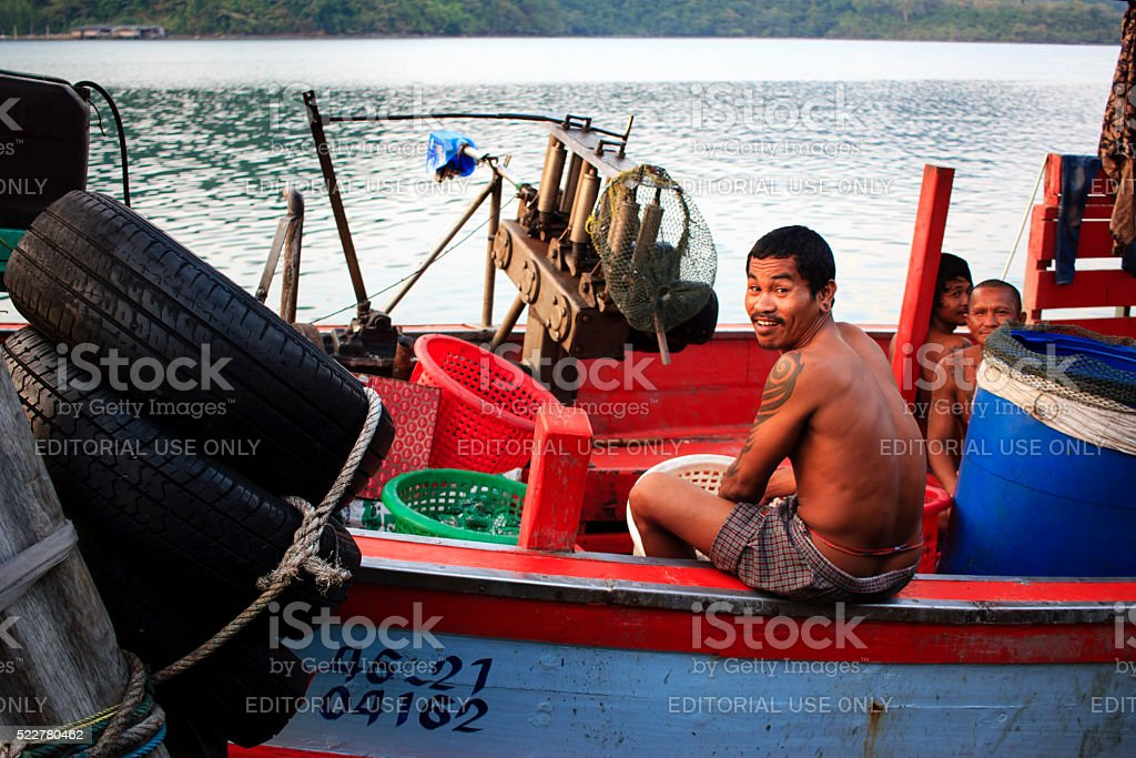Thai fisherman stock photo