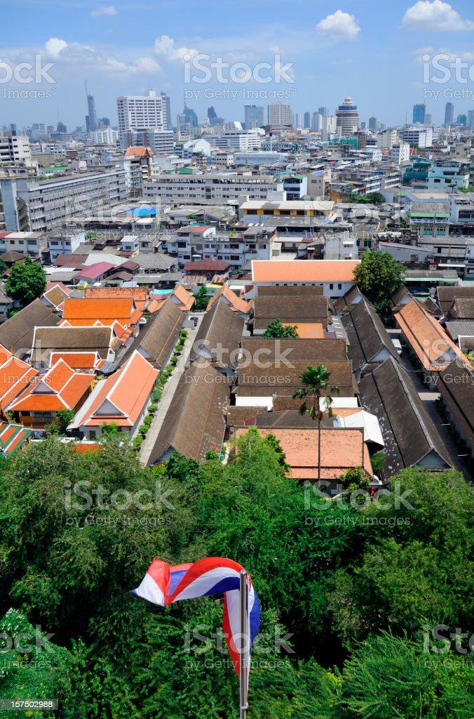 Thai Flag and Bangkok stock photo