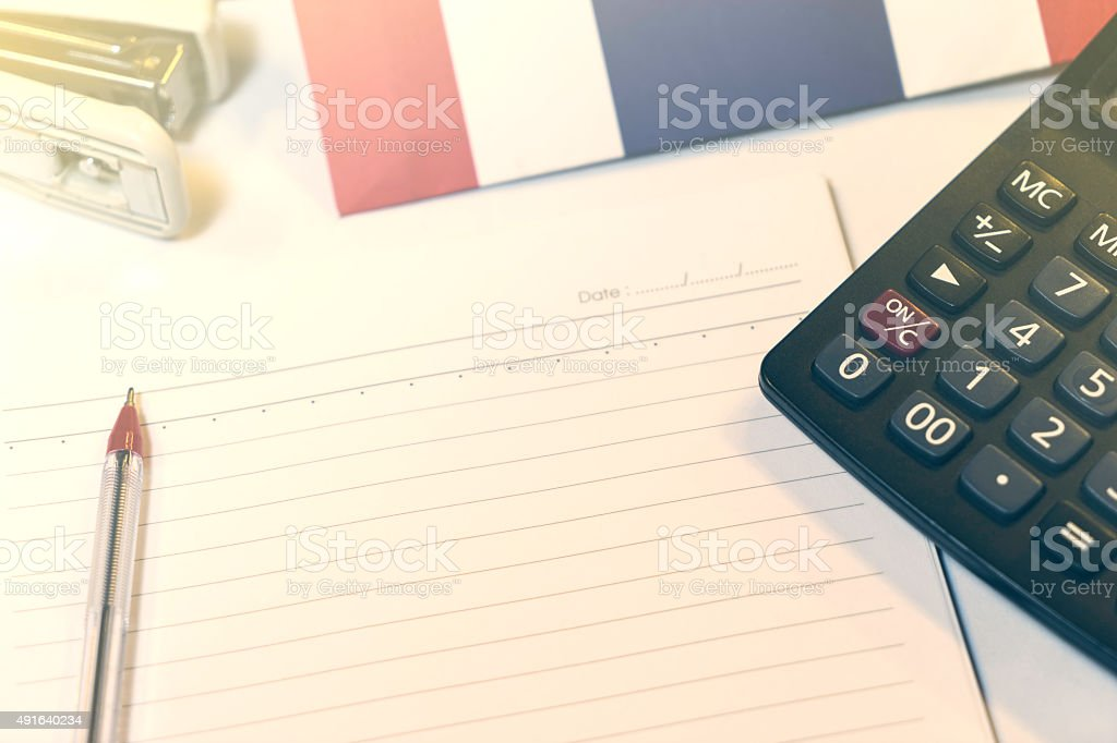 Thai Flag Stationary Notebook Vintage Background stock photo