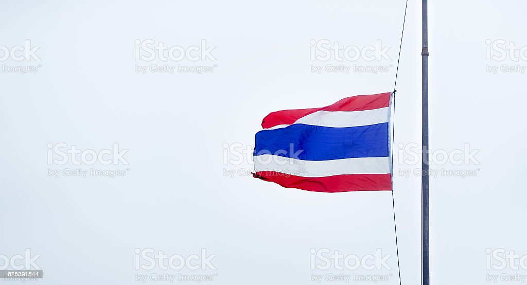 Thai Flag was Lowered stock photo