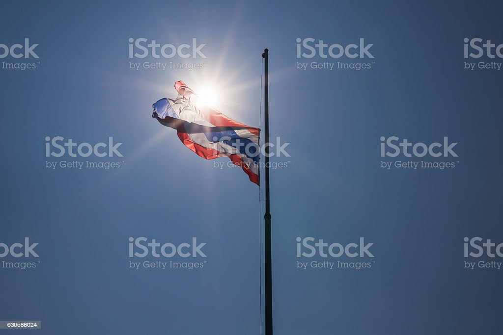 Thai flag was lowered to half-mast stock photo