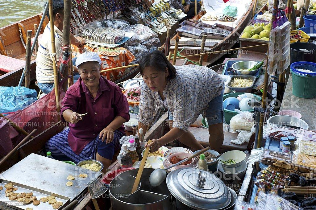 Thai Floating Market Food Vendors royalty-free stock photo