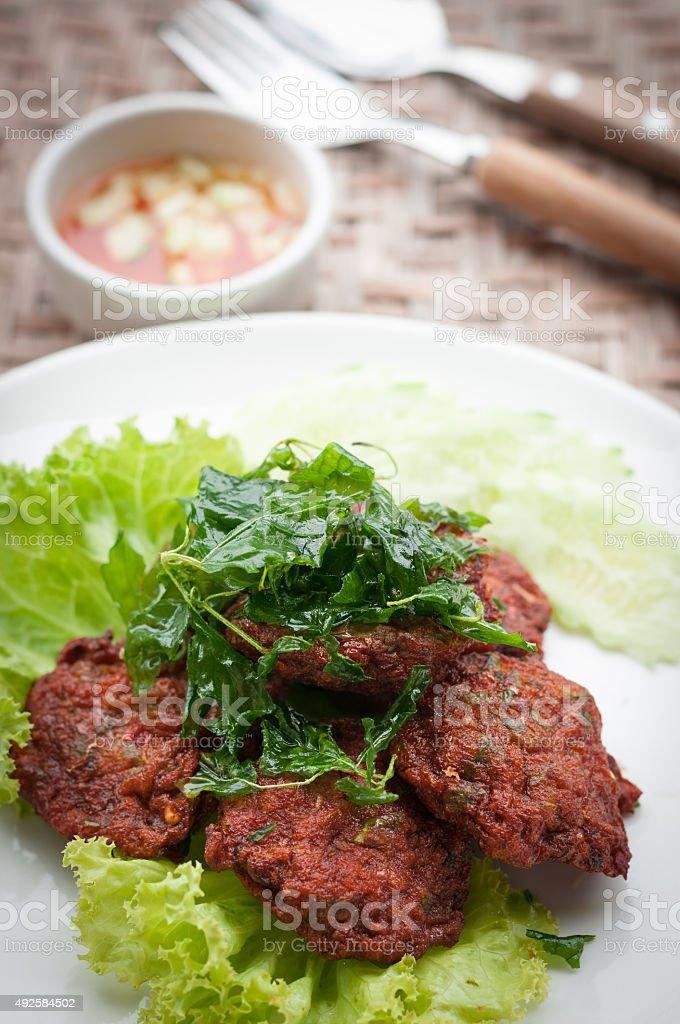 Thai Food Fish Cake (Tod Mun Pla) stock photo