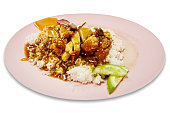 Thai food fried crispy chicken with rice and sweet sauce