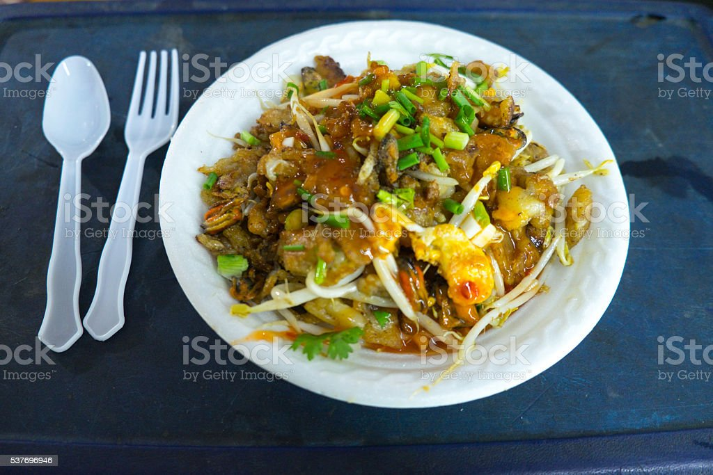 Thai food, fried mussel pancake stock photo