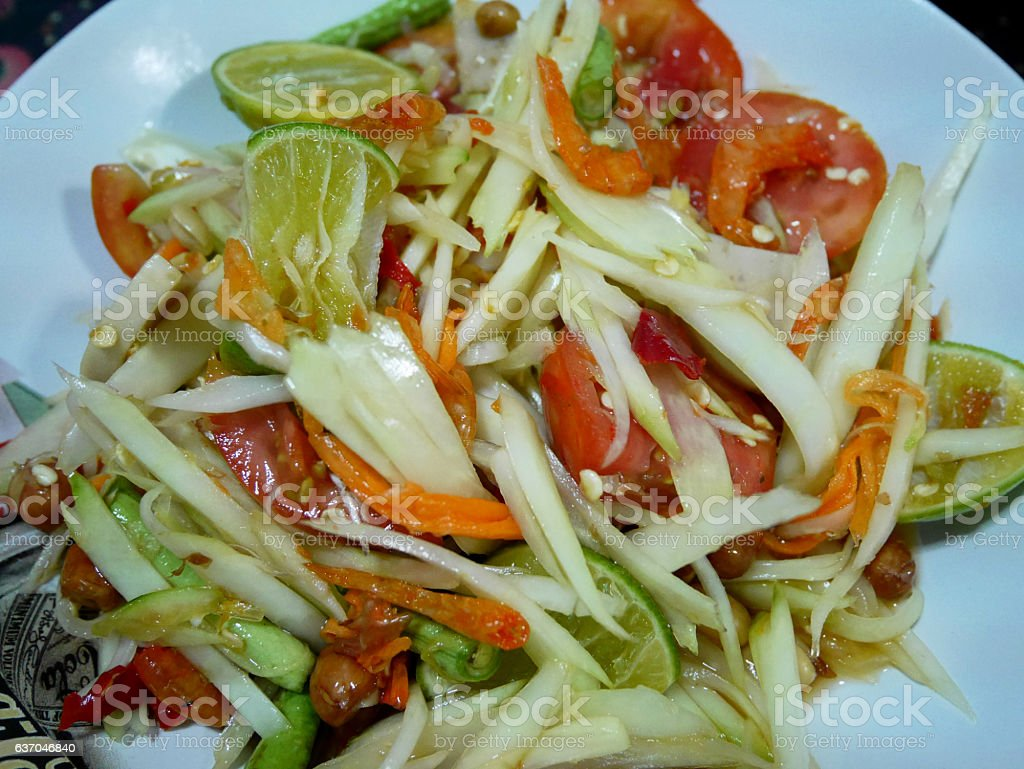 Thai food green papaya salad stock photo